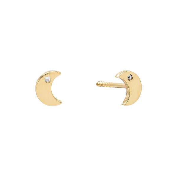 14K Gold Mini Solid CZ Moon Stud Earring 14K - Adina's Jewels