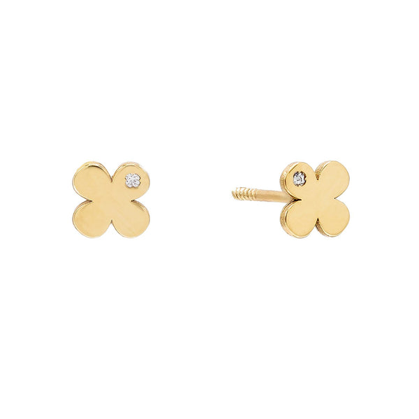 14K Gold Mini Solid CZ Flower Stud Earring 14K - Adina's Jewels
