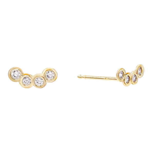 14K Gold / Single Bezel Stud Earring 14K - Adina's Jewels
