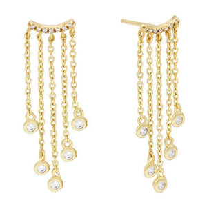 Hanging Chain Bezel Stud Earring Gold - Adina's Jewels