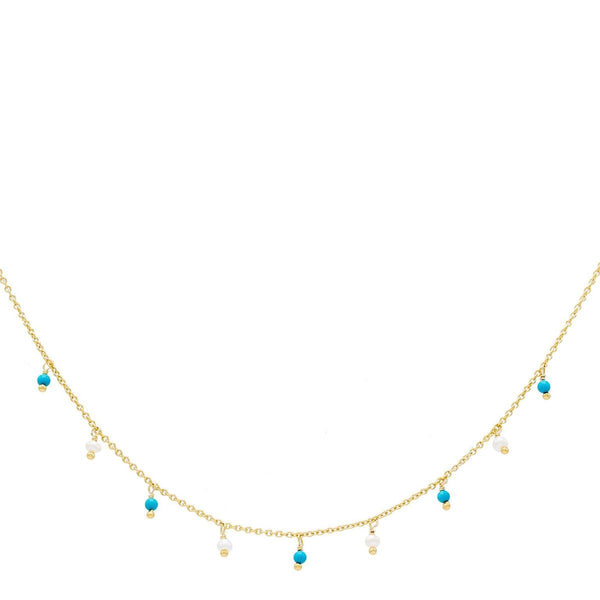 Turquoise Pearl & Turquoise Bead Necklace - Adina's Jewels