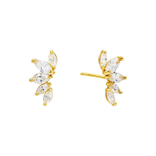14K Gold / Pair Mini Marquise Stud Earring 14K - Adina's Jewels