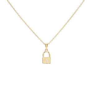 Gold / Engraved Engraved Mini Lock Necklace - Adina's Jewels