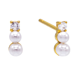 Pearl White Layered Pearls Stud Earring - Adina's Jewels