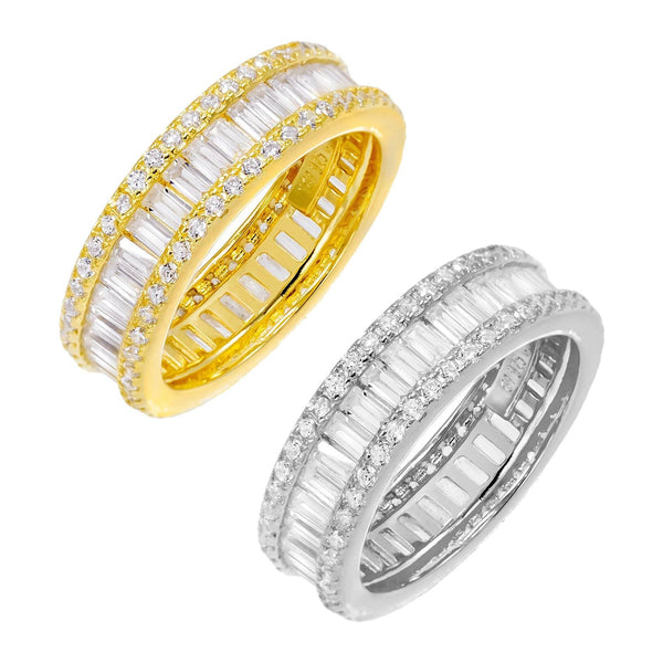 Two-Tone Round X Baguette Eternity Band Combo Set Combo / 8 - Adina's Jewels