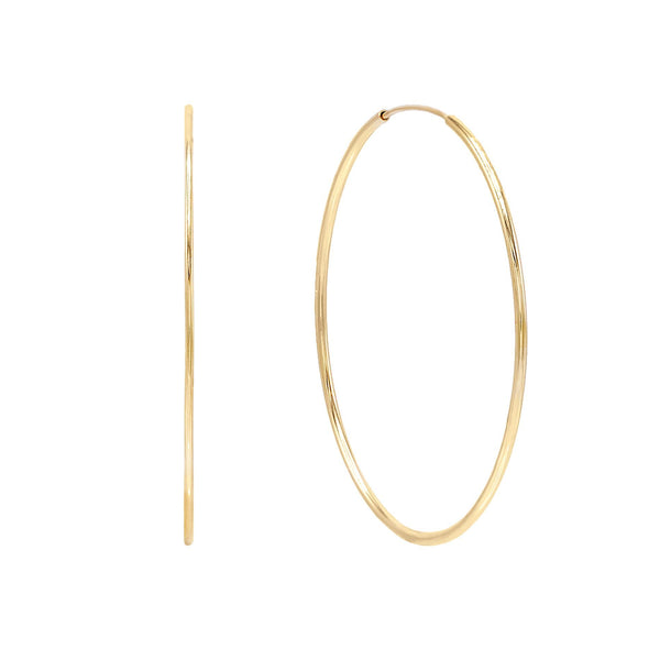14K Gold / 35 MM Endless Hoop Earring 14K - Adina's Jewels