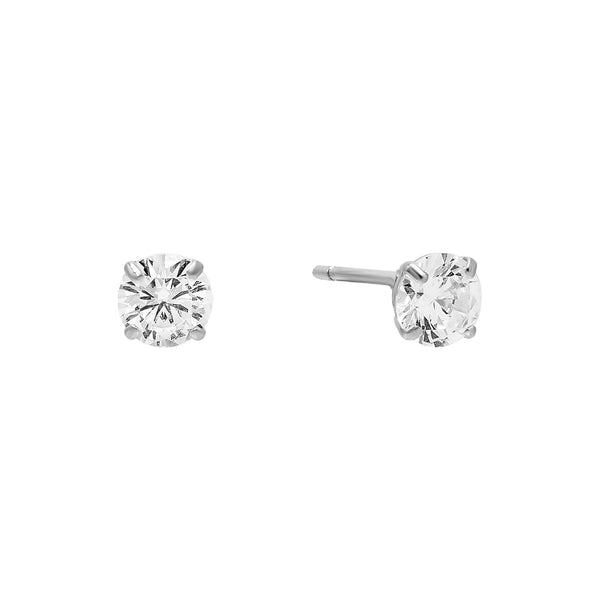 14K White Gold / 5 MM / Pair Solitaire Stud Earring 14K - Adina's Jewels