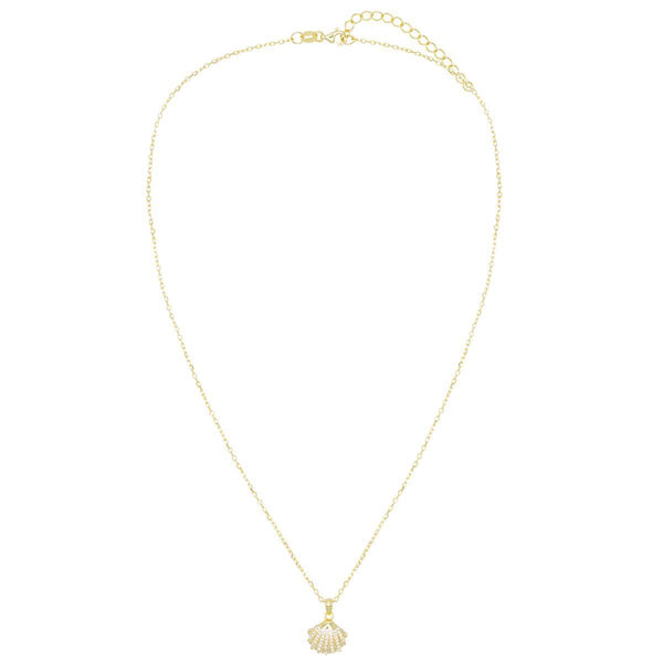 Pavé Shell Pendant Necklace - Adina's Jewels