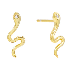 Gold Serpent Stud Earring - Adina's Jewels