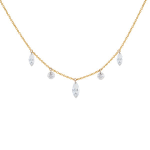 18K Gold Floating Diamond Marquee & Round Necklace 18K - Adina's Jewels