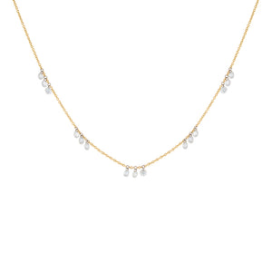 18K Gold Floating Diamond Scattered Necklace 18K - Adina's Jewels