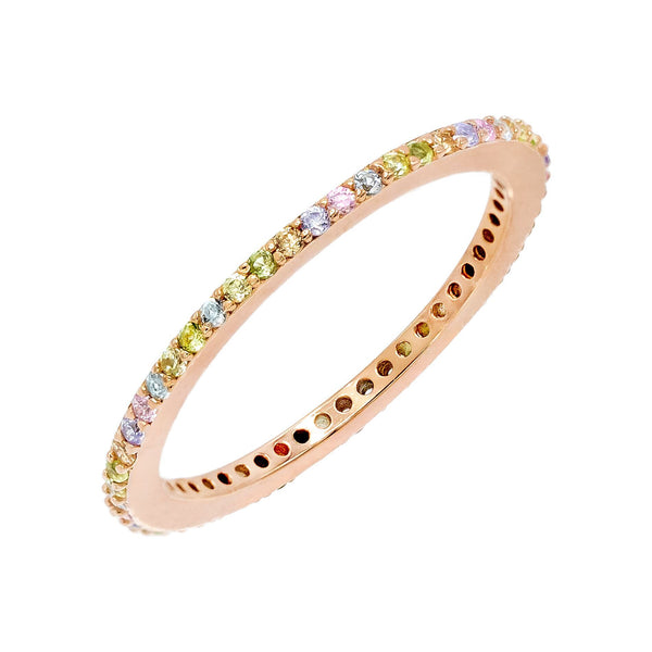 Thin Pastel Rainbow Band Multi-Color / 7 - Adina's Jewels