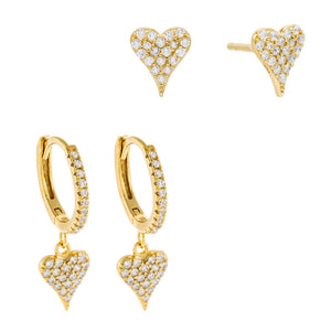 Gold Pavé Heart Earring Combo Set - Adina's Jewels