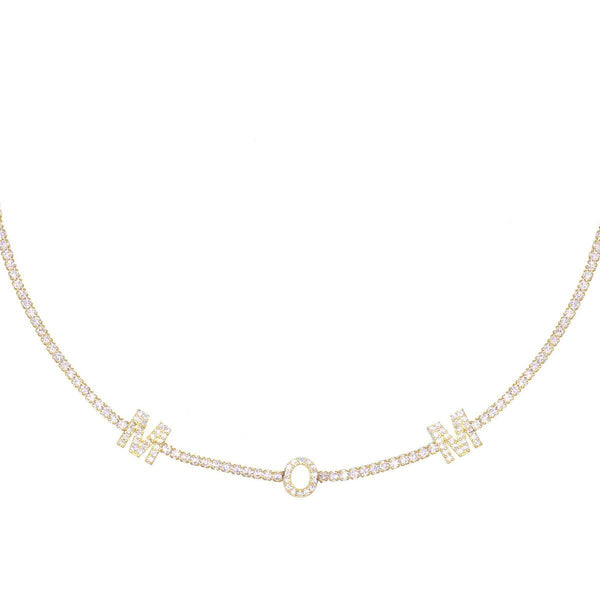 Gold Mom Tennis Choker - Adina's Jewels