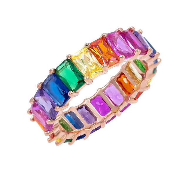 Multi-Color / 6 Rainbow baguette Ring - Adina's Jewels