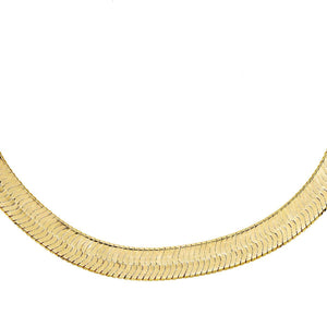 "Wide Herringbone Necklace Gold / 17"" - Adina's Jewels"