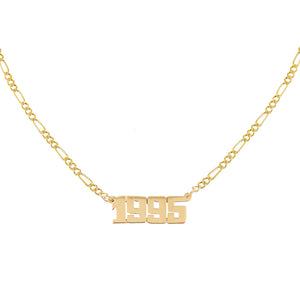 14K Gold Year Nameplate Necklace 14K - Adina's Jewels