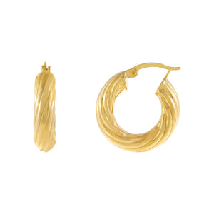 Gold / 20 MM Adina's Chunky Hollow Twisted Hoop Earring - Adina's Jewels