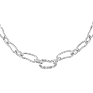 Silver Pavé X Solid Waved Link Necklace - Adina's Jewels