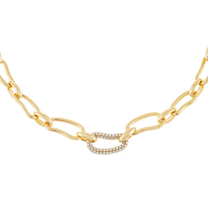 Gold Pavé X Solid Waved Link Necklace - Adina's Jewels