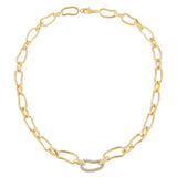 Pavé X Solid Waved Link Necklace - Adina's Jewels