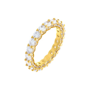 Gold / 6 Round Stone Pavé Band - Adina's Jewels