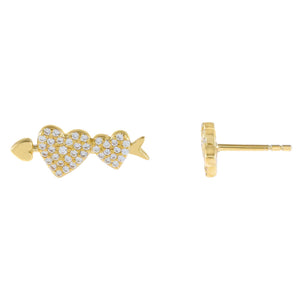 Gold Pavé Heart Arrow Stud Earring - Adina's Jewels