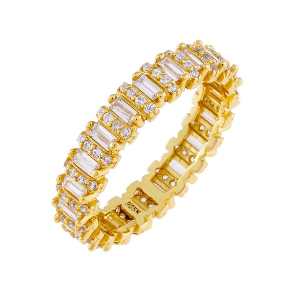 Gold / 5 Pavé Baguette Ring - Adina's Jewels