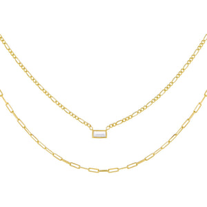 CZ Baguette Figaro X Oval Link Necklace