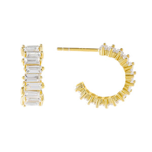Gold Mini Baguette Hoop Earring - Adina's Jewels