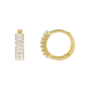 Gold Baguette Huggie Earring - Adina's Jewels