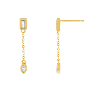 Gold CZ Baguette X Teardrop Chain Drop Stud Earring - Adina's Jewels