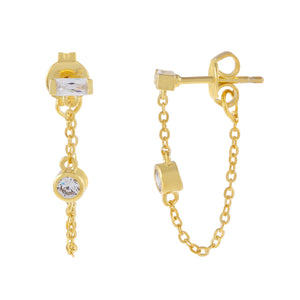 Gold Mini Baguette X Bezel Chain Stud Earring - Adina's Jewels