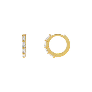 Gold CZ Multi Baguette Huggie Earring - Adina's Jewels