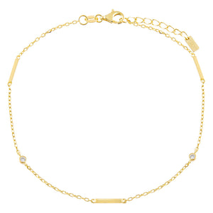 Gold CZ Bezel Bar Anklet - Adina's Jewels