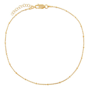 Gold Beaded Chain Anklet - Adina's Jewels
