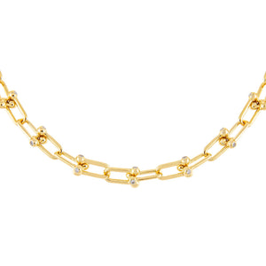 Gold CZ U Chain Link Necklace - Adina's Jewels