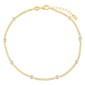 Gold CZ Bezel Cuban Chain Anklet - Adina's Jewels