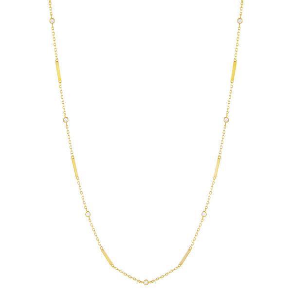 Gold CZ Bezel Bar Necklace - Adina's Jewels