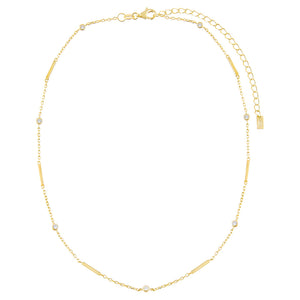CZ Bezel Bar Necklace - Adina's Jewels