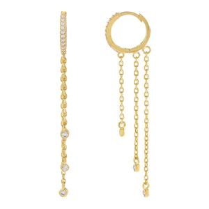 Gold CZ Bezel Chain Drop Huggie Earring - Adina's Jewels