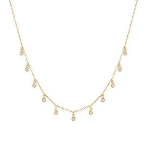 14K Gold CZ Bezel Dangling Necklace 14K - Adina's Jewels
