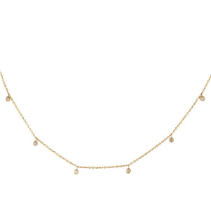 14K Gold Diamond Multi Dangling Bezel Necklace 14K - Adina's Jewels