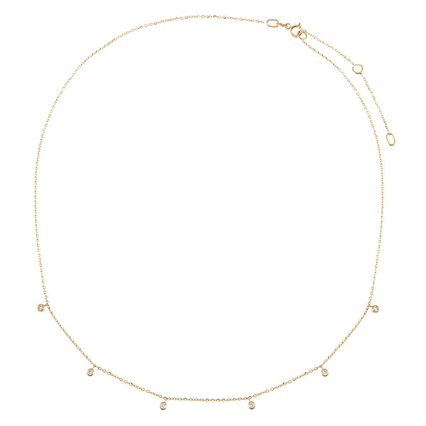 Diamond Multi Dangling Bezel Necklace 14K - Adina's Jewels