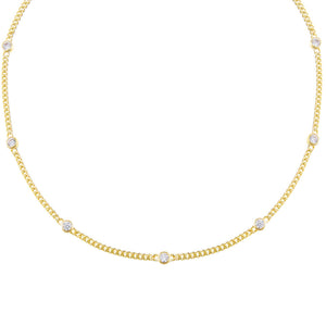 Gold CZ Bezel Cuban Chain Choker - Adina's Jewels