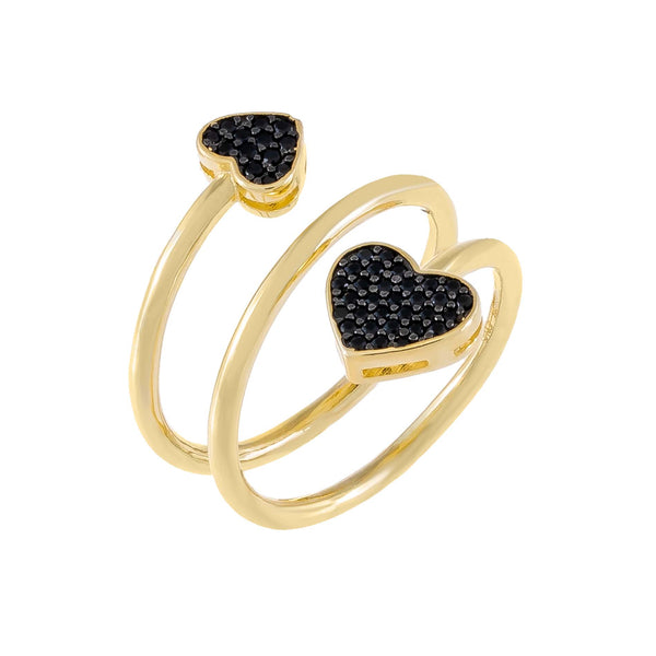 Onyx / 6 Pavé Heart Wrap Ring - Adina's Jewels