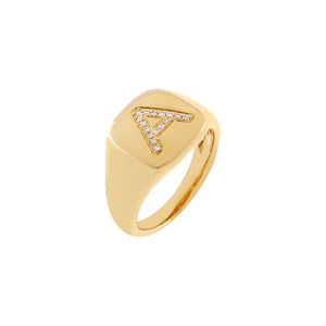 14K Gold / 3 Diamond Initial Pinky Ring 14K - Adina's Jewels