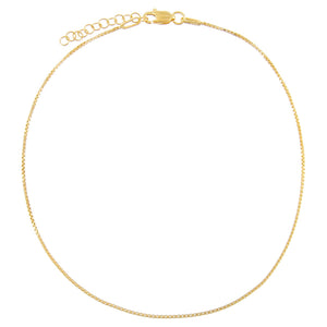 Gold Thin Box Chain Anklet - Adina's Jewels