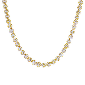 Gold Pavé Multi Flower Necklace - Adina's Jewels