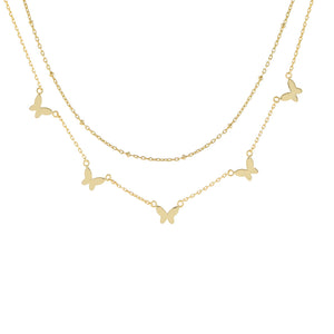Gold Multi Butterfly X Beaded Chain Necklace - Adina's Jewels